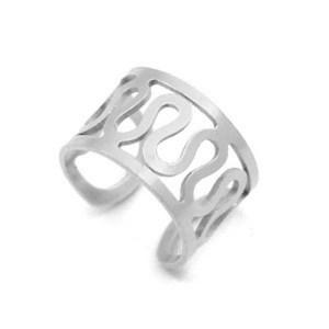 Roestvrij stalen (RVS) Stainless steel oorbellen ear cuff swirl zilver