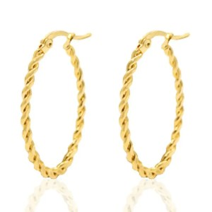 Roestvrij stalen (RVS) Stainless steel oorbellen creolen oval twist goud