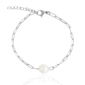 Roestvrij stalen (RVS) Stainless steel armband pearl Zilver