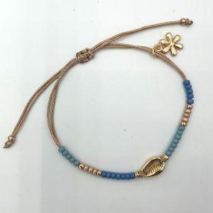 Ibiza armband met goudkleurig schelpje en bloembedel