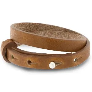 Verstelbare dubbele heren armband 8mm Saddle brown