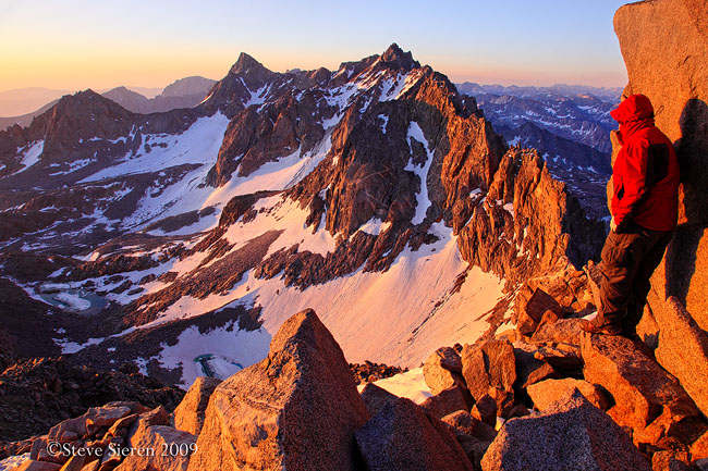 On top of California's 20th highest peak. It's a boulder crawl to the top not a walk like the trip up to Whitney.