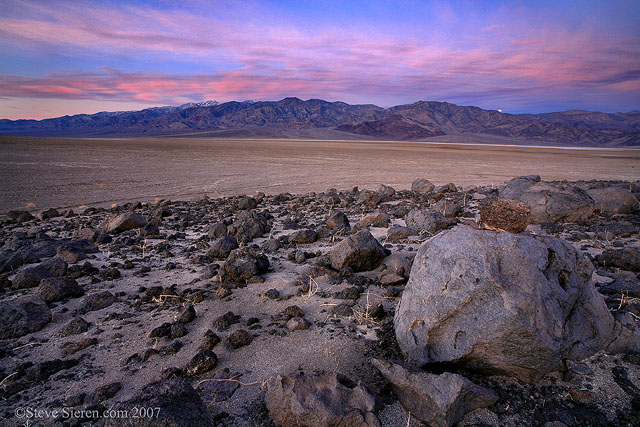 Moon setting on the Panamints in Death Valley
