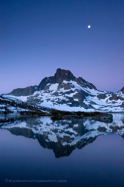Mt Ritter and Banner Peak above Thousand Island Lake, Ansel Adams Wilderness, Eastern Sierra back country.