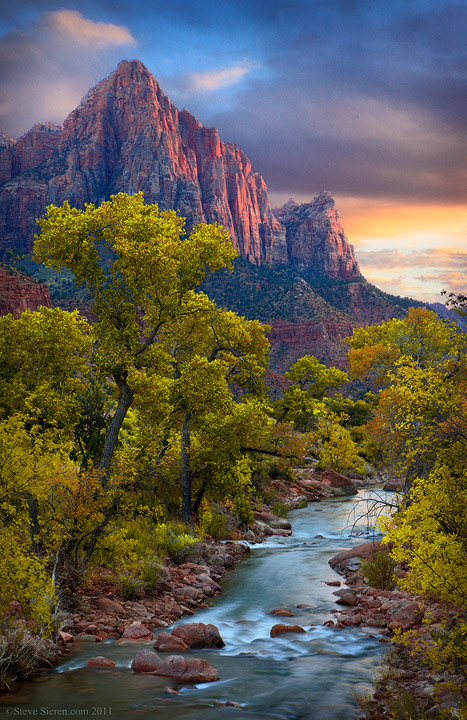 Watchman Virgin River in the fall at Zion National Park