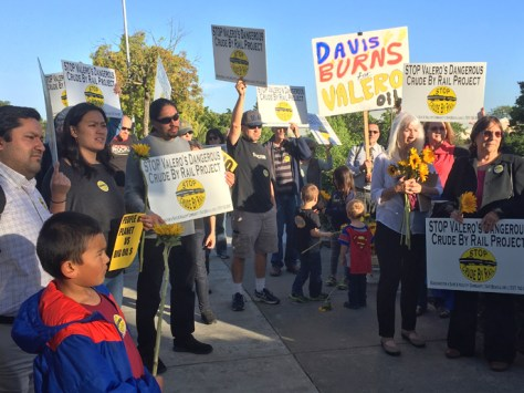 Opponents of Valero's oil train proposal rallied in front of city hall before the Benicia City Council hearing.