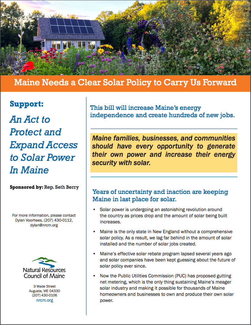 now is time to act expand solar industry in maine sierra club