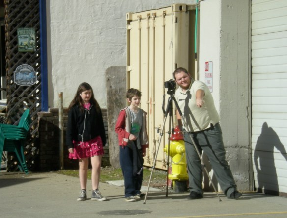 Kevin Lozanzo directs his young stars Izabella and Nathaniel for next shot.