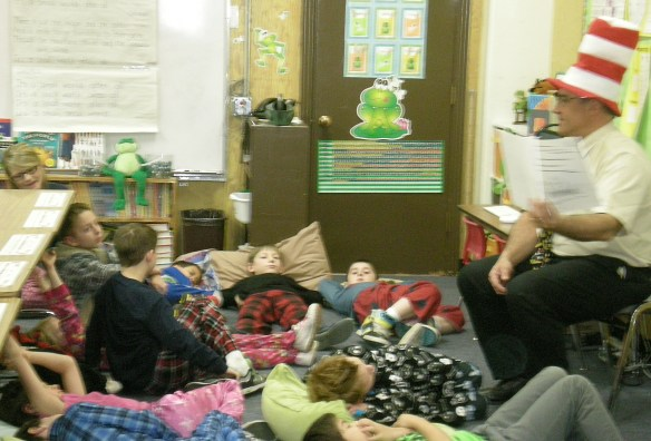 Principal Derek Cooper gets an early morning start at the Sierra County Read Across America