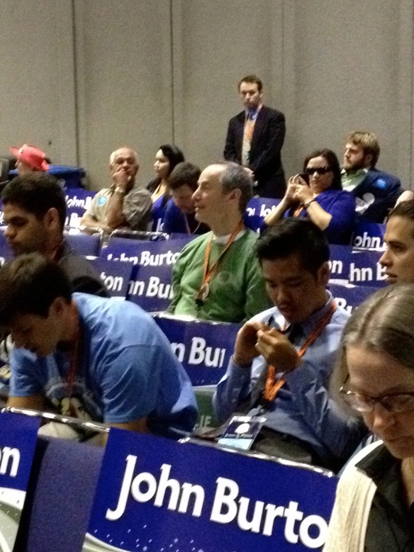 Sierra County Democrat Tom Schumann fills the Observer role at the California Democrat Convention.