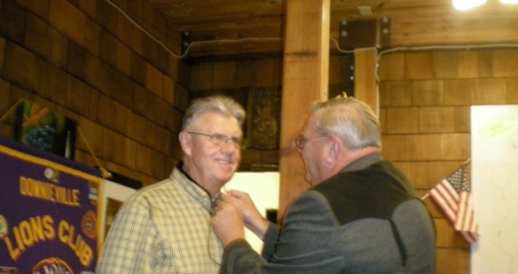 Downieville Lion Frank Lang, is honored for being
