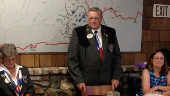 Lions Club District Governor Andy Anderson with ljkfdlkjalkjd and Downieville Lions Club President Charles Ervin
