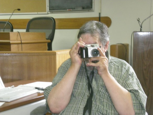 12/31/14 Here is Editor Don Russell being an investigative reporter at the Downieville Courthouse... unaware he is the only one in the room.