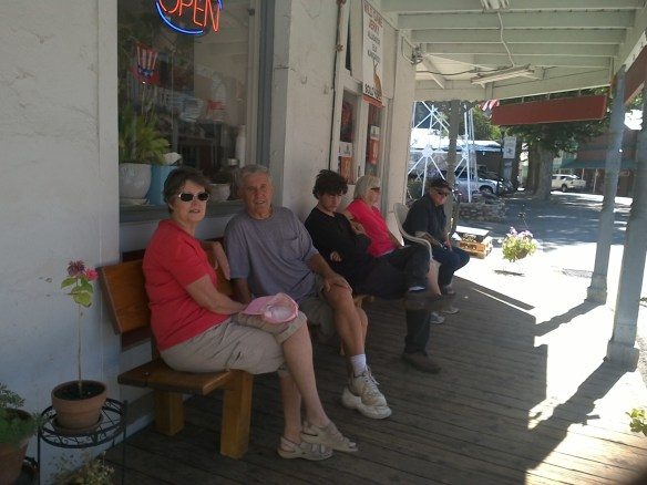 The Bench at Downieville Grocery is still in service for Carol & David Marshall, Cory Peterman,  Barbara Seley and Dave Robinson