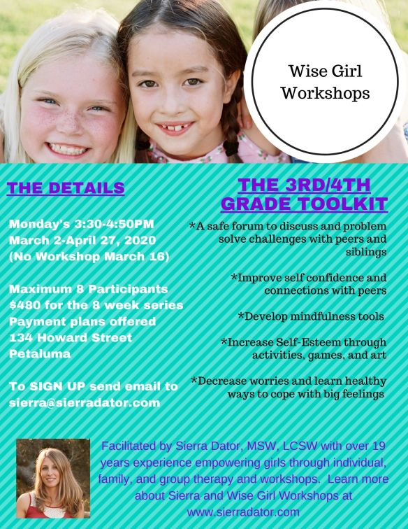 Flier with 2 young girls for wise girl workshops 3rd/4th grade series