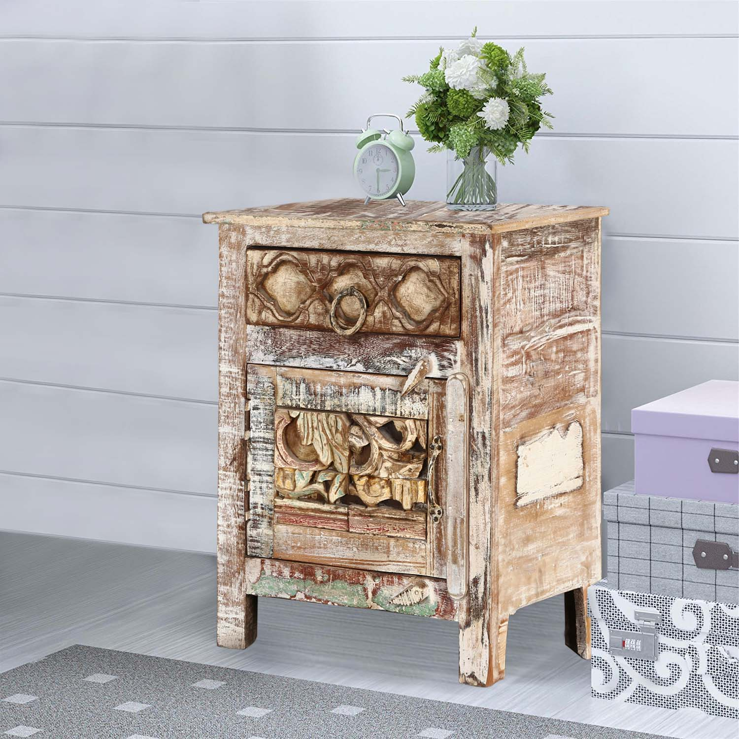 Winter Forest Reclaimed Wood Nightstand End Table Cabinet