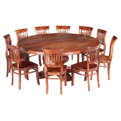 Round Table And Chairs Stacking Patio Rustic Solid Wood Large Dining Chair Set Sierra