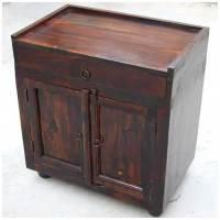Espresso Wood Storage Drawer Kitchen Cabinet Side Table