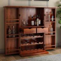 Wisconsin Rustic Solid Wood Expandable Bar Cabinet with ...