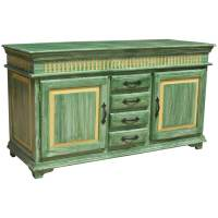 Oklahoma Farmhouse Distressed Hand Painted 4 Drawer Sideboard