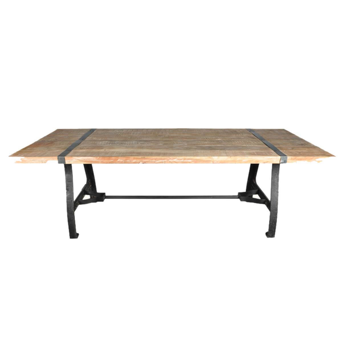 industrial dining table and chairs hanging chair balcony natural wood wrought iron