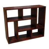 Asymmetrical Cube Bookcase Contemporary Wooden Display ...