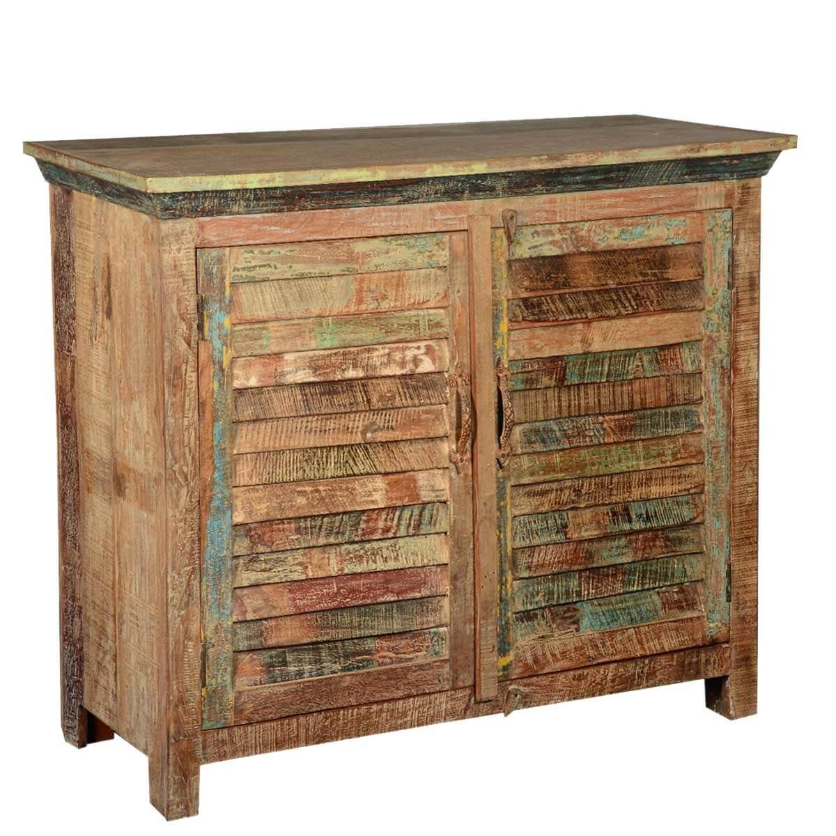 Distressed Reclaimed Wood Buffet 2 Door Kitchen Storage