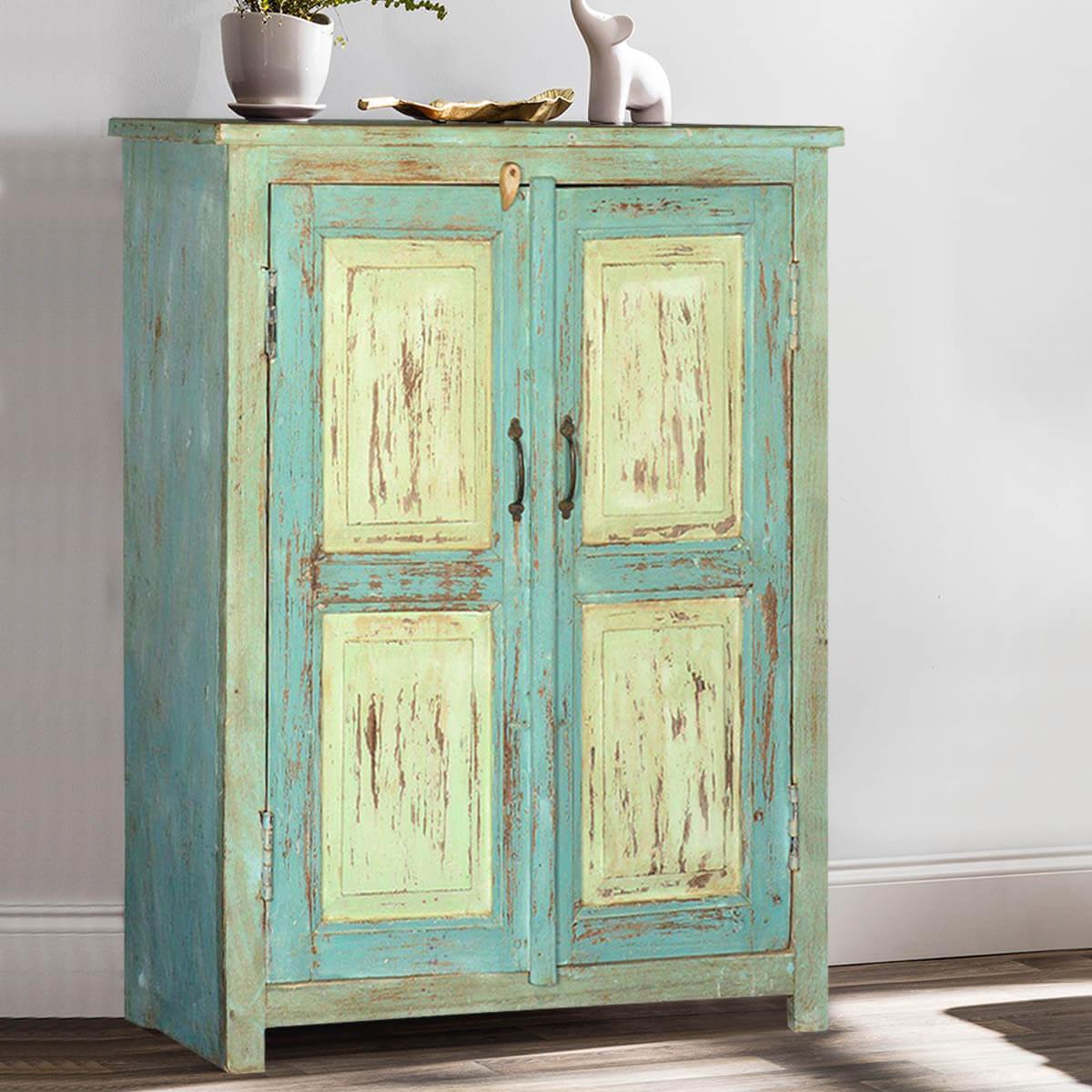 Deersville Blue  Green Reclaimed Wood Storage Cabinet