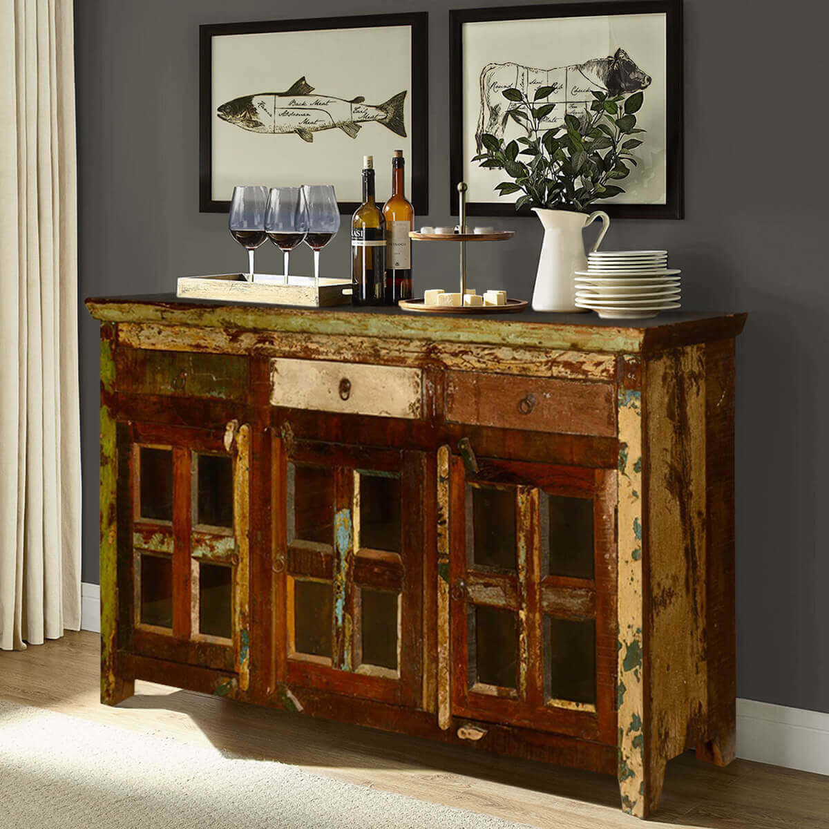 Appalachian Rustic Reclaimed Wood Window Pane Buffet