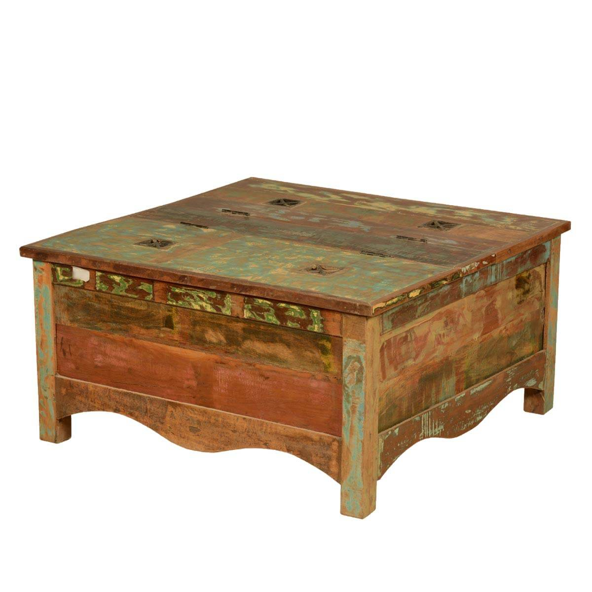 Boelus Rustic Reclaimed Wood Square Double Top Coffee