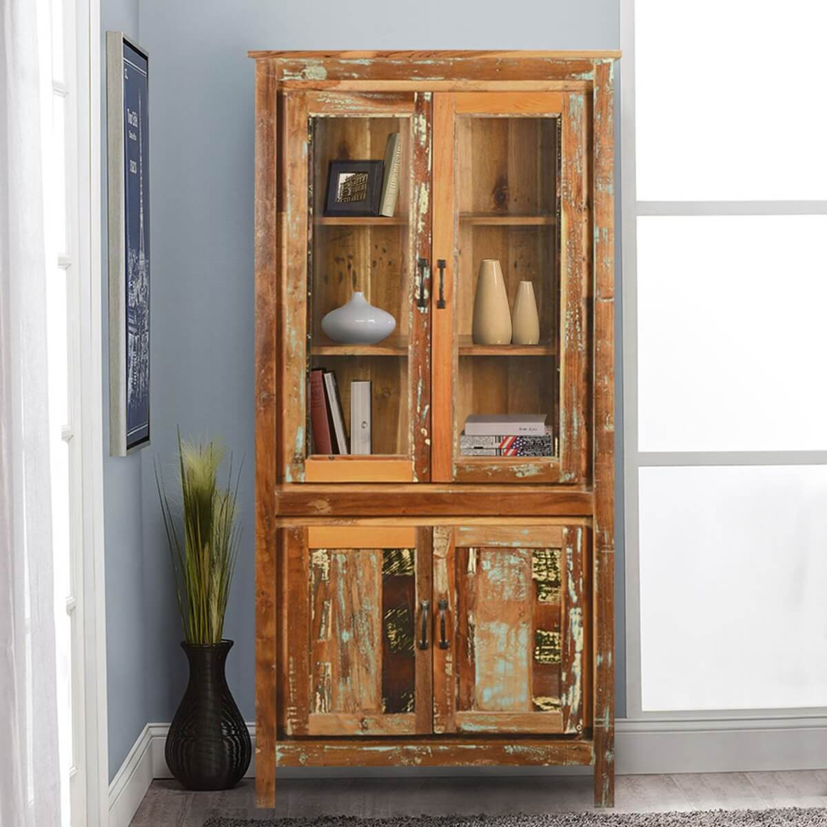 Bethlehem Rustic Reclaimed Wood Glass Door Tall Display