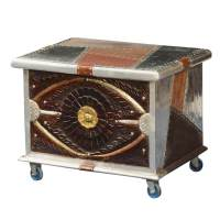 Metallic Patches Mango Wood Modern Rolling Coffee Table Chest