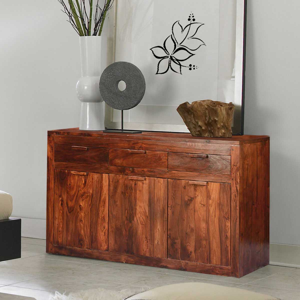 Modern Simplicity Solid Wood  Acacia 63 Sideboard Cabinet