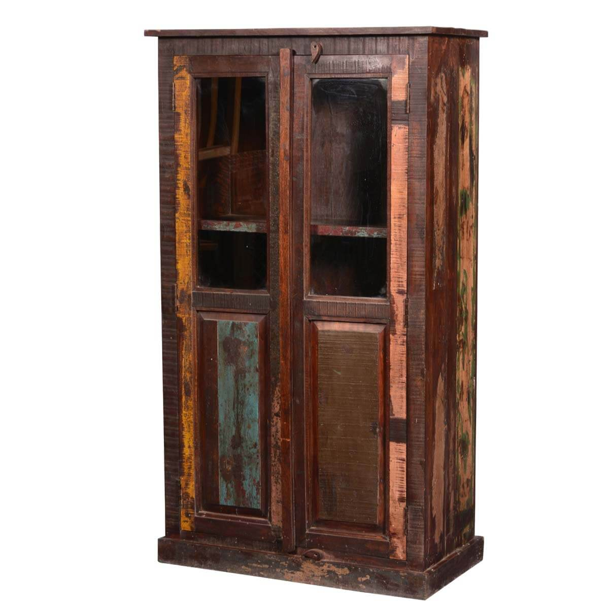 Appalachian Rustic Reclaimed Wood Armoire Display Cabinet