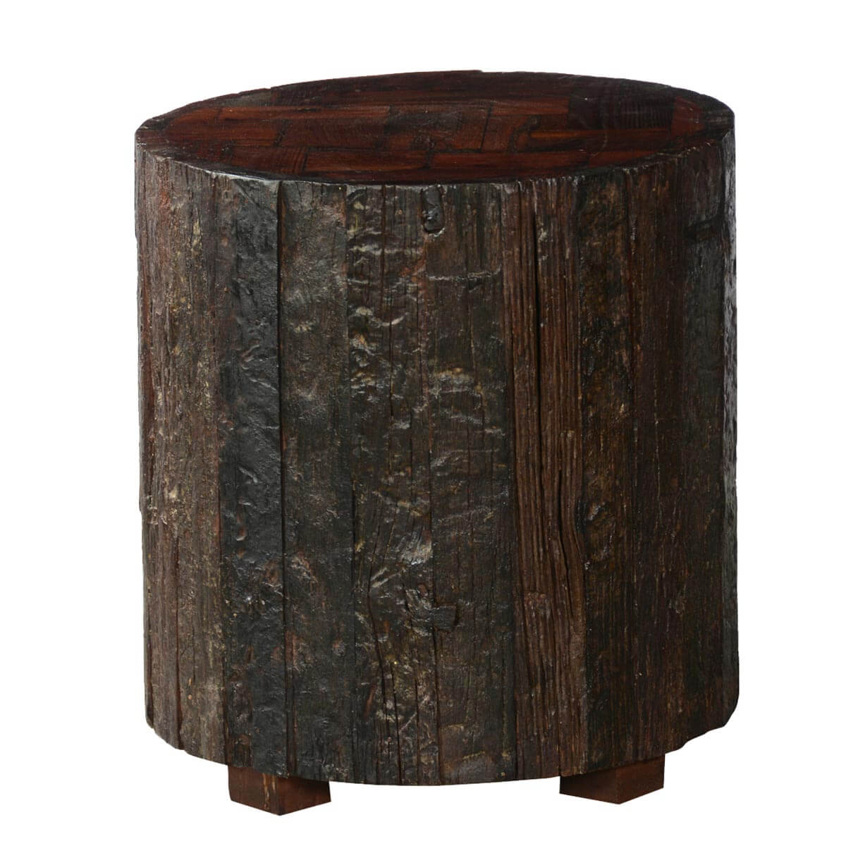 Log Cabin Rustic Reclaimed Wood Stump Standing End Table