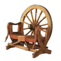 Wagon Wheel Teak Wood Novelty Garden Bench