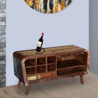 Rustic Retro Reclaimed Wood Wine Rack Media Cabinet