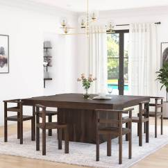 8 Chair Square Dining Table Office Ball Cushion Modern Rustic Solid Wood 64 Quot Pedestal