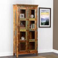 Albion Pioneer Rustic Reclaimed Wood Glass Door Display ...