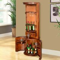 Hebron Solid Wood Barrel Design Tower Bar Cabinet with