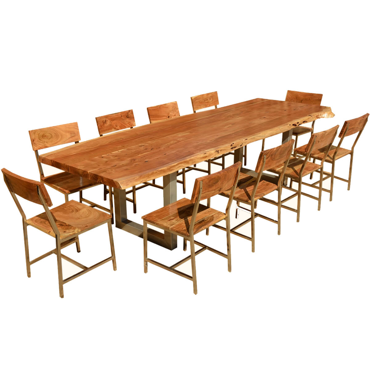 10 chair dining table set long couch sofa live edge acacia wood and iron 117 modern rustic