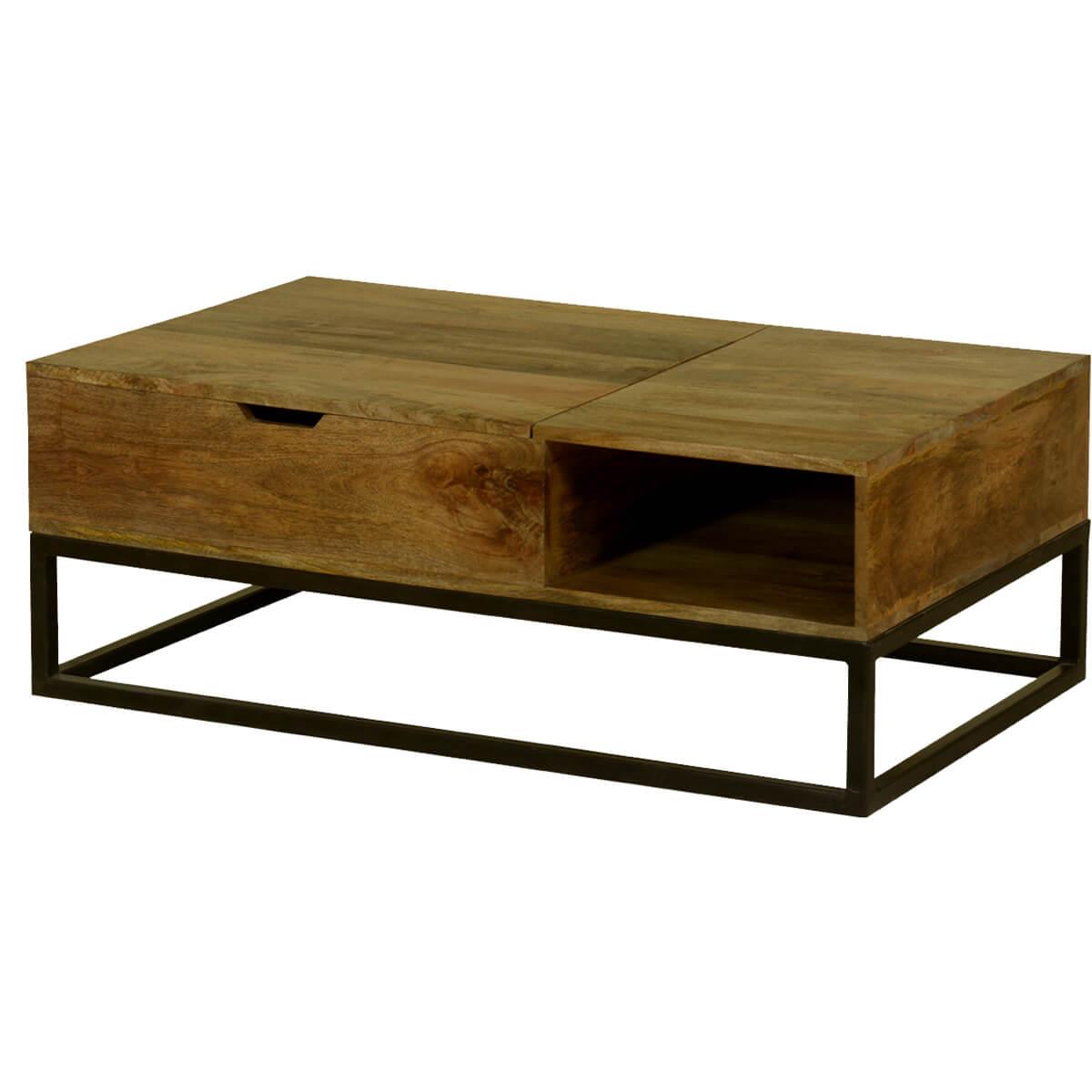 Modern Industrial Mango Wood & Iron Coffee Table Chest