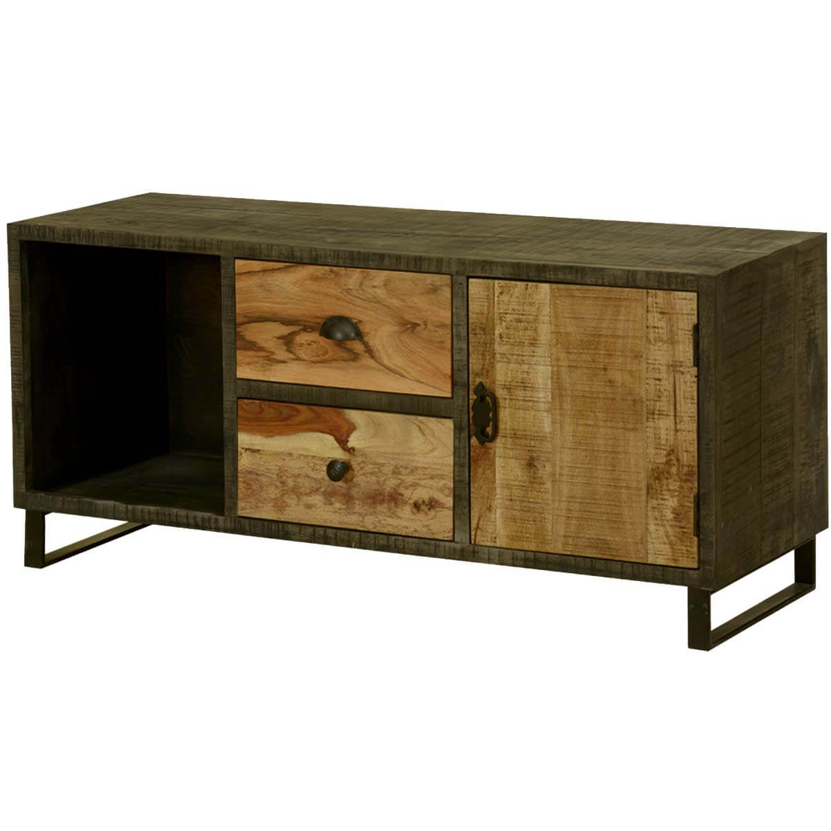Wooden Patches Mango Wood  Iron TV Console Media Cabinet
