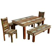 Sierra Reclaimed Wood Furniture Dining Table with 2 Chairs ...