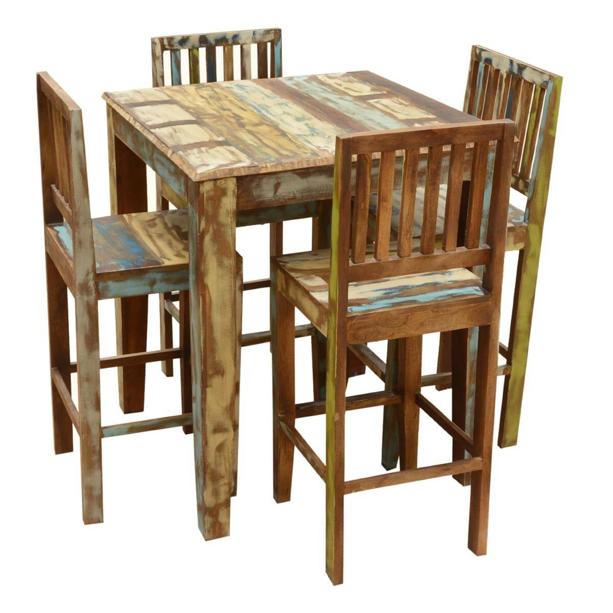high bar table and chair set exam with stirrups appalachian rustic reclaimed wood