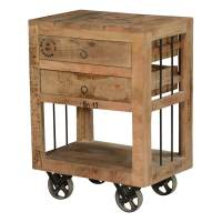 Industrial Style Rustic Solid Wood 2 Drawer End Table w ...