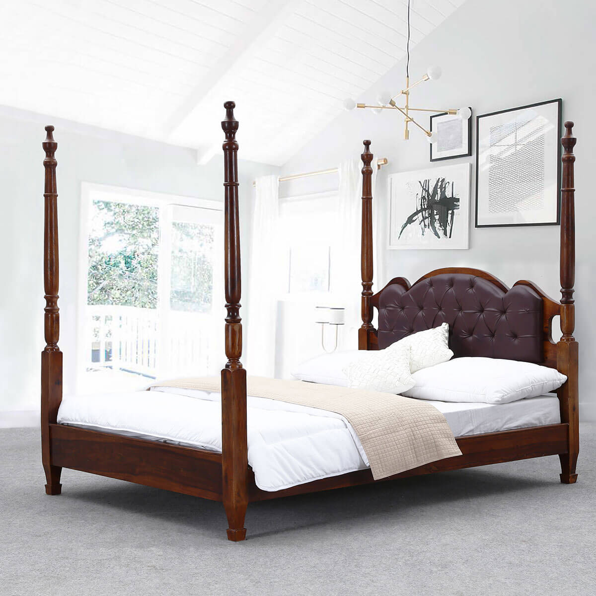 Four Poster Cal King Size Bed Frame English Tudor Solid