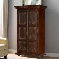 Palazzo Dark Solid Wood 2 Door Rustic Tall Storage Cabinet