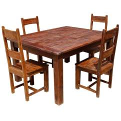 Solid Wood Dining Room Table And Chairs Floral Upholstered Chair Rustic Appalachian Set