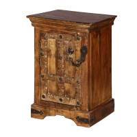 Rustic Gothic Gates Mango Wood Nightstand End Table Cabinet